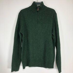J Crew NWT hunter green wool 1/4 zip sweater. Sz L